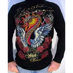 CHRISTIAN AUDIGIER ED HARDY MENS PLATINUM SERPENT IN FLIGHT L/S SHIRT