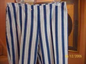 NWOT white w/blue and gray long stripe capris Kors sz12