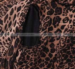 Women Fashion Vintage Leopard Grain Faux Leather Coat Jacket Outwear