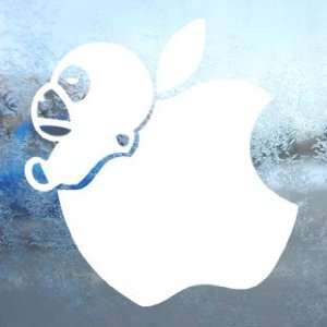 Apple White Decal Animal Monkey Car Window Laptop White Sticker