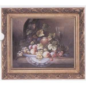 European Art Oil Painting Fruit & Wine Still Life with Carved