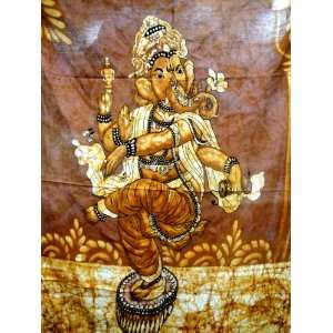 Indian God Ganesh / Dancing Ganesha / Cotton Fabric Tapestry Batik