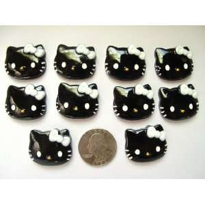 10 Resin Cabochon Flat Back Black Hello Kitty White Bow for Cellphones