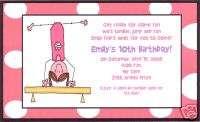 Personalized Girl Gymnastics Birthday Party Invitations
