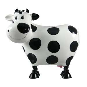 White / Black Polka Dot Holstein Dairy Cow Piggy Bank