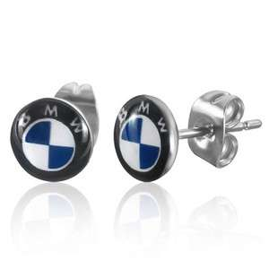 7mm Stainless Steel BMW Logo Stud Earrings (CO)