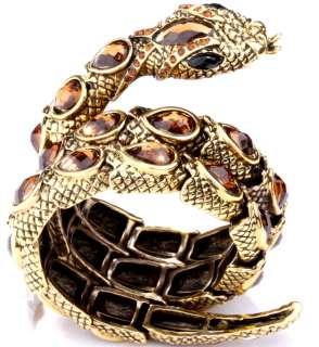 Gold swarovski crystal stretch snake cuff bracelet jewelry 5