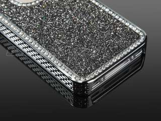 Black Luxury Bling Glitter Diamond Chrome rhinestone Hard Case F