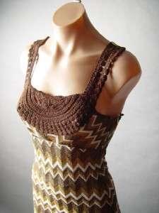 Zigzag Stripe Crochet 70s Style Empire Waist Long Maxi Dress XS