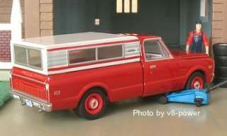 1969 CHEVY C 10 PICKUP w/Bed Cap, Bumper Stickers, RRs, 164 Diecast