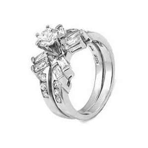 Silver Wedding Ring Set With Round Cubic Zirconia in Six Prong Setting