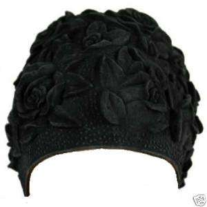 FLORAL EMBOSS VINTAGE STY LATEX SWIM CAP (Black)