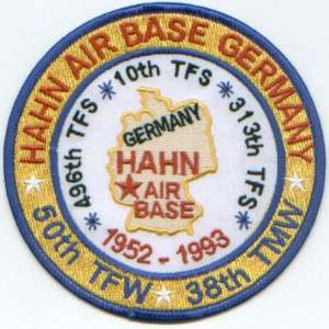 USAF BASE PATCH, HAHN AIR BASE GERMANY, CLOSED *
