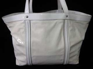 DOLCE & GABBANA Ivory Patent Leather Large Tote Handbag