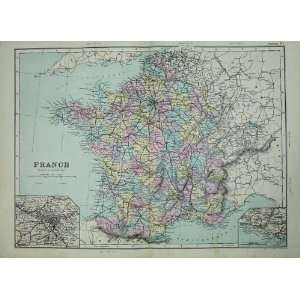 Bacon World Atlas 1891 Map France Plan Marseille Paris