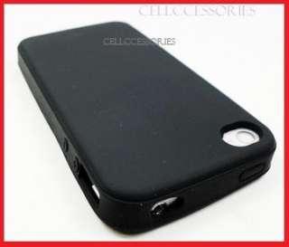 VERIZON IPHONE 4 4G BLACK SOFT SKIN SILICONE COVER CASE