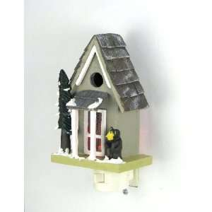 Mountain Home Cabin Night Light with Bear and Snow