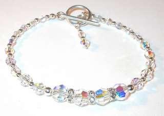 SWAROVSKI CRYSTAL ELEMENTS Sterling Silver Toggle Bracelet CLEAR AB
