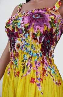 New Spring Summer Floral Print Yellow Maxi Long Sun Dress Smock Ruffle