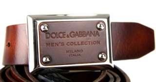 DOLCE & GABBANA MENS COLLECTION BROWN LEATHER LOGO BELT 110/44 W/BOX