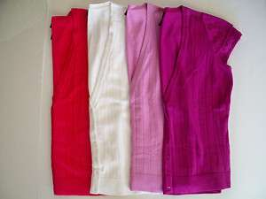 Lane Bryant Womens Short Sleeve Button Sweater Shirt Pink Fucshia