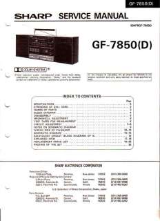 SHARP GF 7850(D) ORIGINAL SERVICE MANUAL FREE USA SHIP
