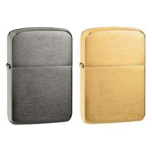 Zippo Lighter Set   1941 Replica Black Ice and Brushed Brass Pack of 2