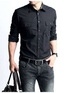 Slim Fit/ Mens Military Style Shirt / Casual Shirt/ Cotton 100%/ Army