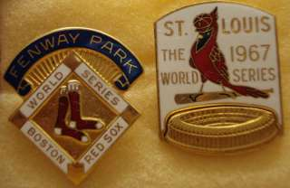 1967 World Series Press Pins (Red Sox/Cardinals) w/case