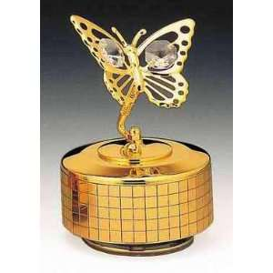 Butterfly 24k Gold Plated Swarovski Crystal Music Box