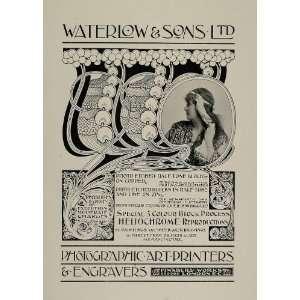 Print Ad Waterlow Printers Engravers Art Nouveau   Original Print Ad