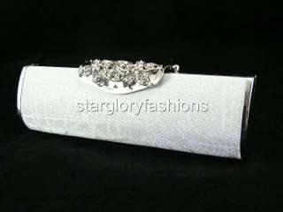 Exquisite Shiny Fabric Crystal Flower Pin Framed Clutch