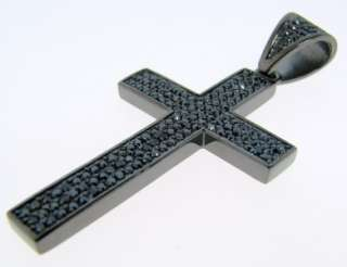 BLACK GOLD FINISH PAVE BLACK CZ MINI CROSS PENDANT