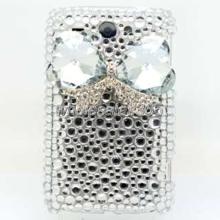 3D Bowknot Back Cover For HTC Wildfire G8 Bling Crystal White Case