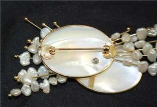 PEARL & FRESHWATER PEARL PIN~14K YELLOW GOLD~by DONNA CHAMBERS