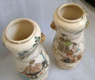 PAIR OF ANTIQUE JAPANESE SATSUMA VASES SIGNED TAIZAN?@@