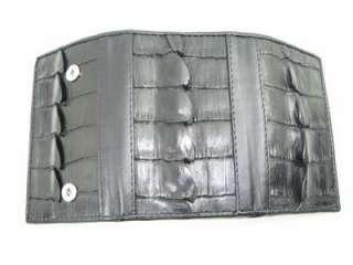 Genuine Black Crocodile Leather Trifold Keychain Wallet