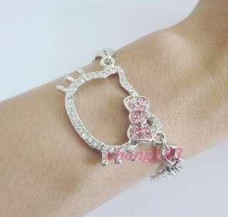 cute Hello Kitty pink bowknot Pendant Bracelet eZ29 xmas Gift