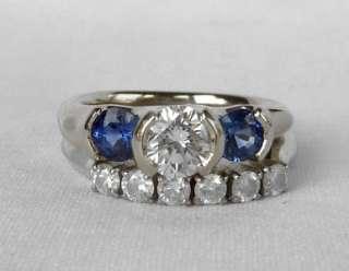 14k WHITE GOLD CUSTOM DESIGNER 1.15 CT DIAMOND+SAPPHIRE 3 STONE