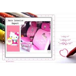 10PCS HELLO KITTY W/BOWKNOT UNIVERSAL CAR SEAT COVER SET PINK H23