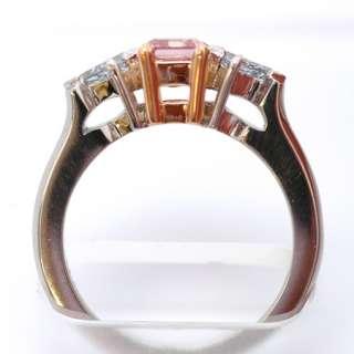 88Ct Ring Emerald Diamond Fancy Intense Purplish Pink Color