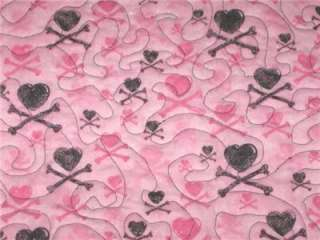 Table Runner Skulls girls room decor pink crossbones hearts glitter