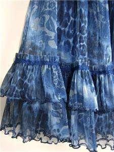 Maxi Victorian Royal Blue Print Peasant Boho Tiered Dress Skirt~8/10/M