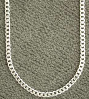 Sterling Silver Curb 4mm Link Chain Necklace Italy .925