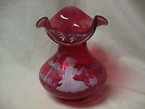 FENTON GLASS MARY GREGORY HANDPAINTED VASE #2977 N8 SIGNED BY BILL