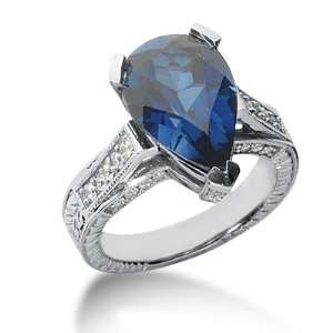 Diamond Sapphire Ring Engagement Pear Cut Pave Fashion 14k White Gold