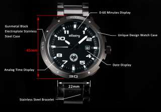 White Quartz Date Mens Wrist Watch Black Stainless Steel + Box