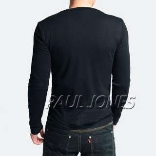 New Mens Slim Fit Cotton+Lycra V Neck Muscle Long Sleeve Casual T