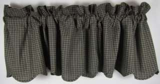 Country Black Tan Plaid Kettle Grove Lined Scalloped Cotton Valance