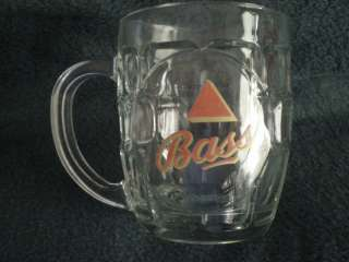 BASS PALE ALE SMALL BEER MUG / TANKARD MADE IN ENGLAND   CROWN GLASS